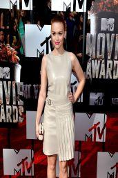 Holland Roden Wearing Salvatore Ferragamo Belted Leather Dress - 2014 MTV Movie Awards