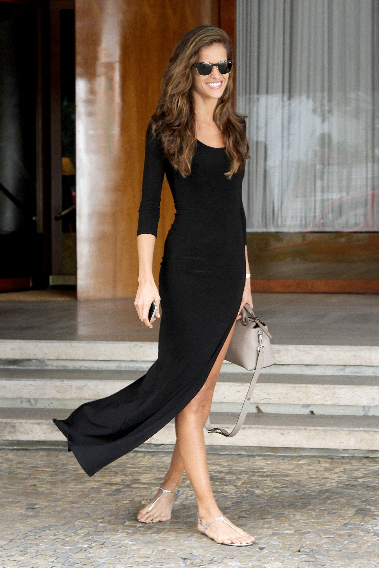 Izabel Goulart in Black Dress - Sao Paulo, April 2014
