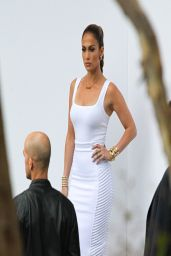 Jennifer Lopez in Azzedine Alaia White Top and Milly Pencil Skirty - American Idol Studios in West Hollywood