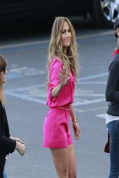 Jennifer Lopez Leggy wearing Pink Shorts - Heading Into