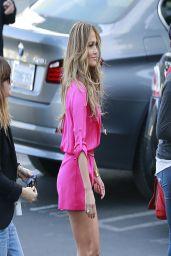 Jennifer Lopez Leggy wearing Pink Shorts - Heading Into