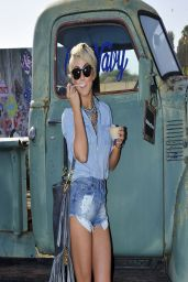 Julianne Hough in Denim Shorts - Old Navy Oasis at Coachella 2014
