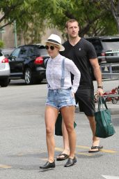Julianne Hough Shows Legs in Denim Shorts - Bristol Farms in LA
