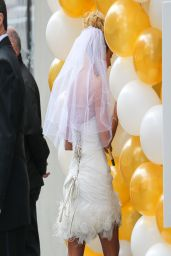 Kate Gosselin Wearing Short Wedding Dress and High Heels to promote