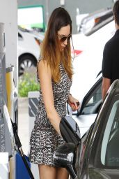 Kelly Brook in Mini Dress - Pumping Gas in Hollywood - April 2014