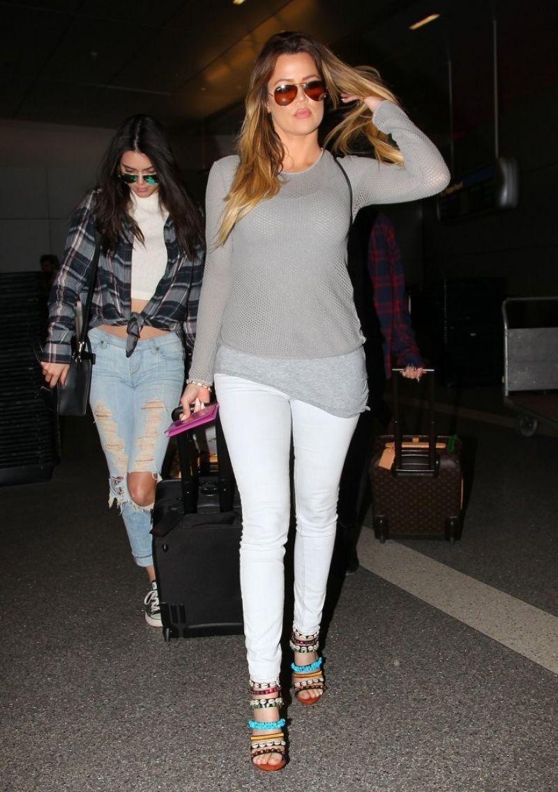 Kendall Jenner & Khloe Kardashian - at LAX Airport - April 2014