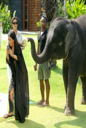 Kylie Jenner in a Bikini with an Elephant in Thailand (w/ Kendall Jenner)