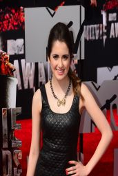 Laura Marano Wearing Topshop Quilted Leather Top and Printed Pants - 2014 MTV Movie Awards