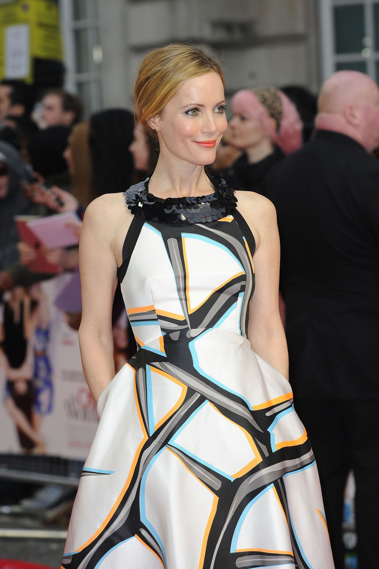 Leslie Mann in Giles Printed Fit and Flare satin Dress -