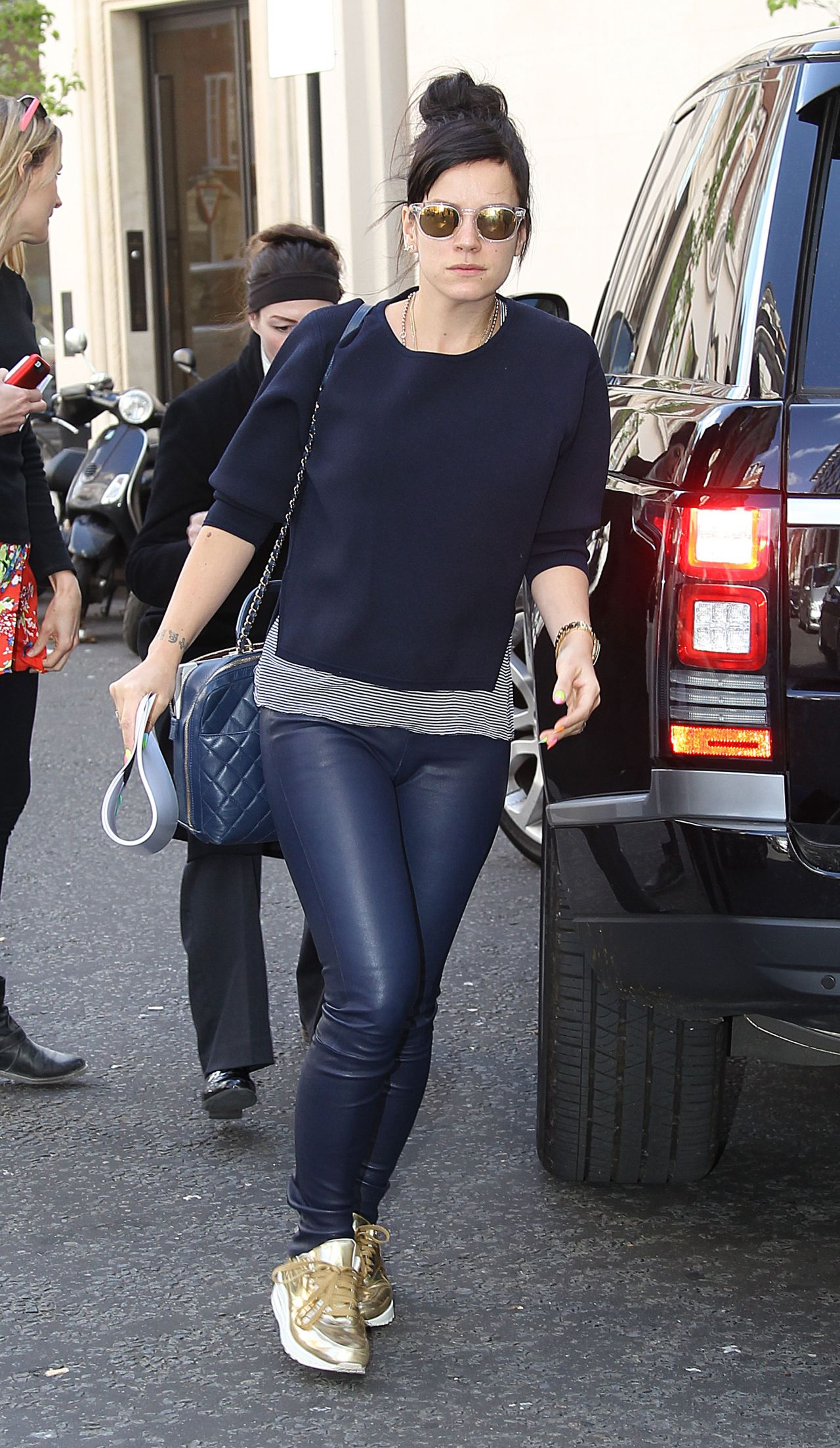Lily Allen Casual Style - Visiting BBC Radio 1 Studios in London - April 2014