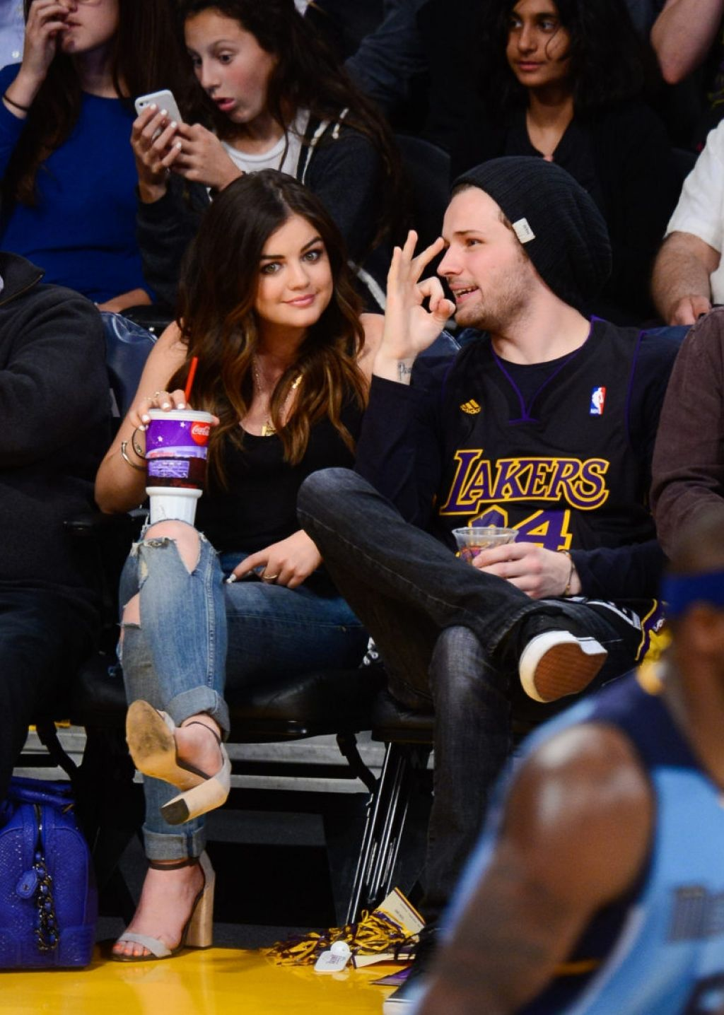 Lucy Hale - Lakers Game at Staples Center in Los Angeles - April 2014