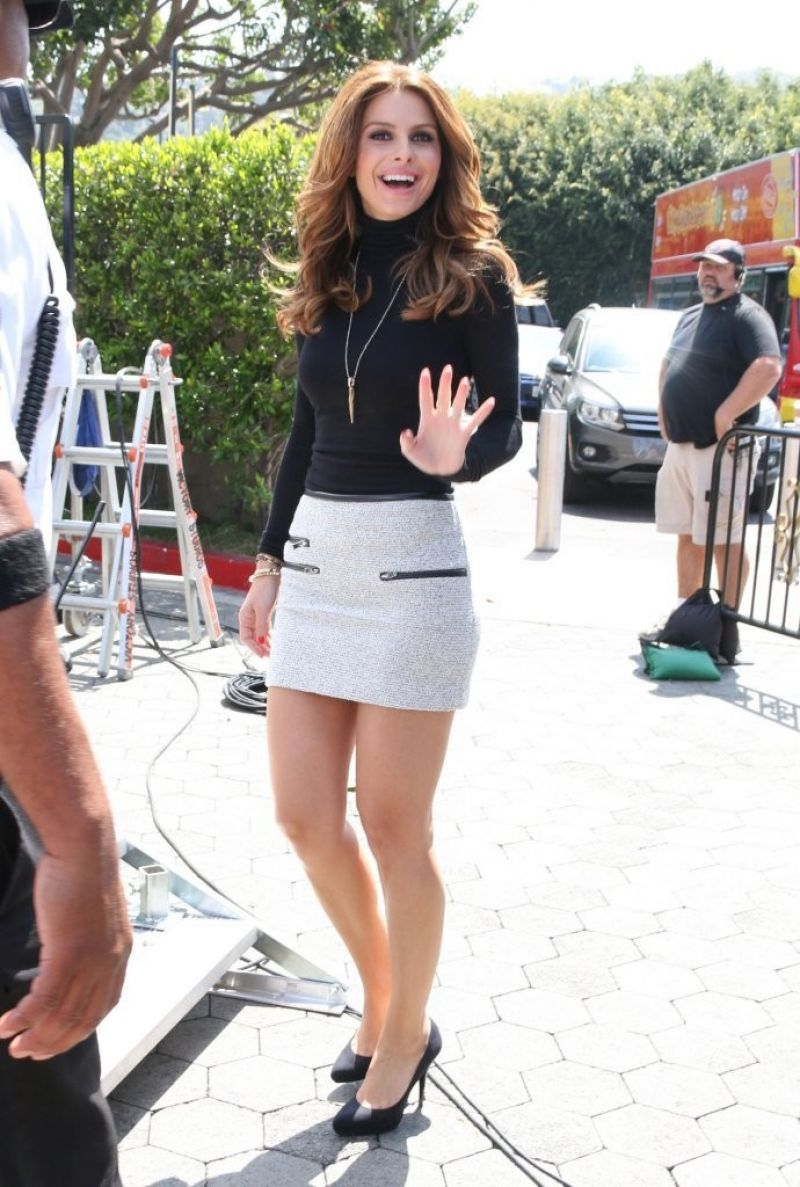 Menounos in Mini Skirt on the Set of Extra in Los Angeles - April 2014