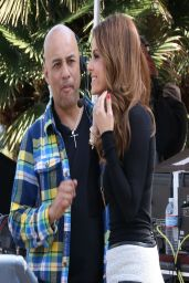 Maria Menounos in Mini Skirt on the Set of Extra in Los Angeles - April 2014