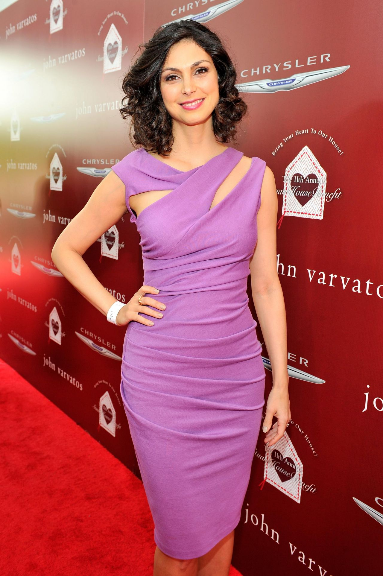 Morena Baccarin Wearing Kevan Hall Jersey Dress - 2014 John Varvatos Stuart House Benefit in West Hollywood