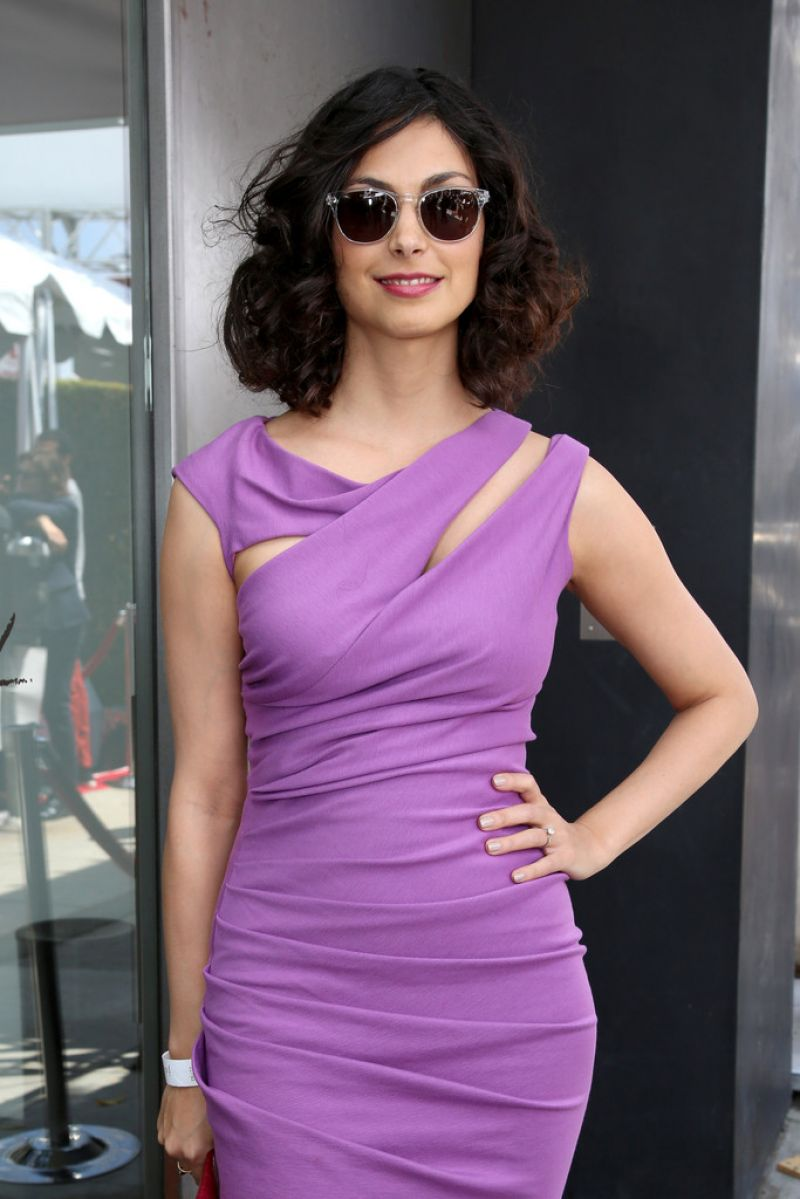 Morena Baccarin Wearing Kevan Hall Jersey Dress 2014