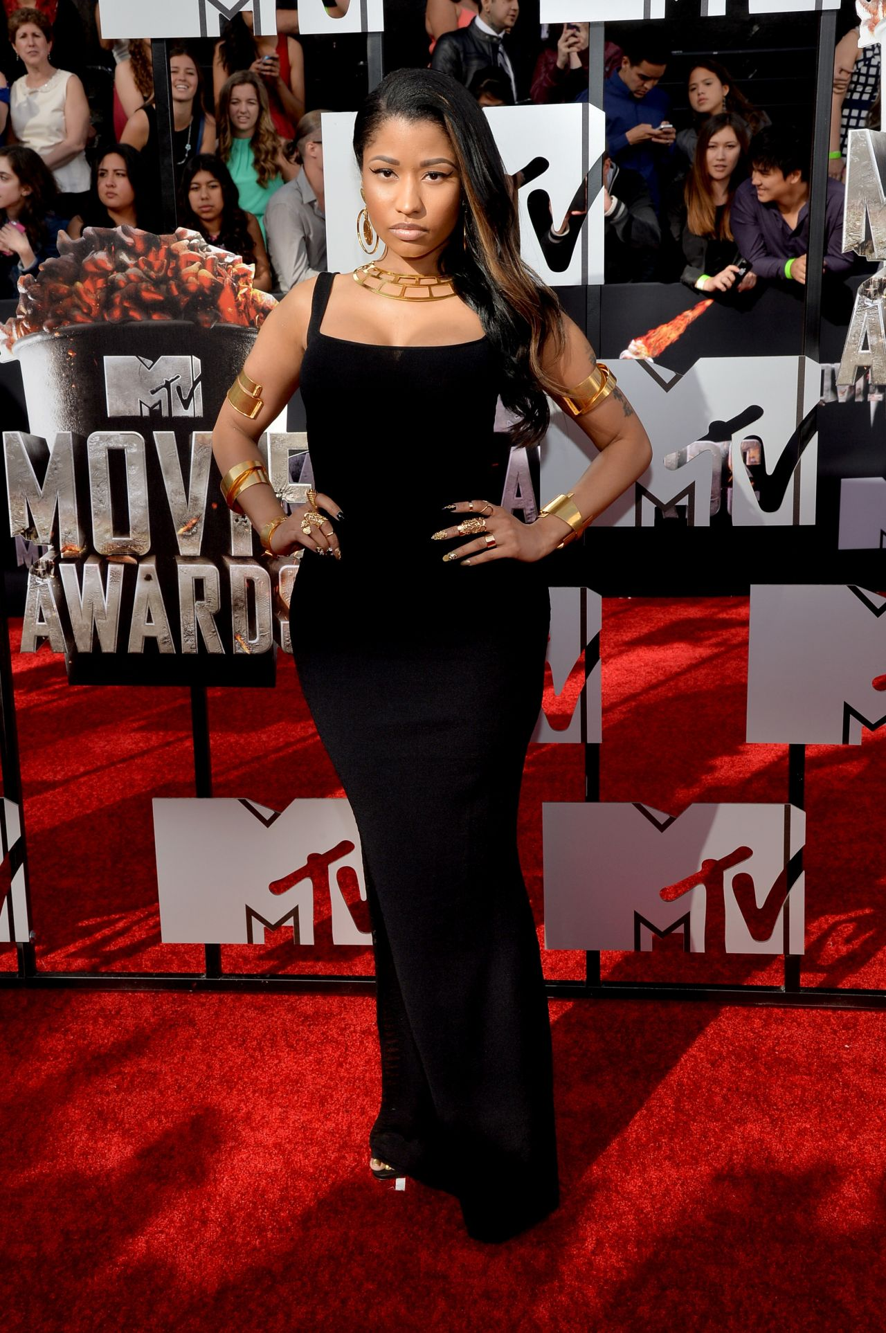 Nicki Minaj Wearing Alexander McQueen Dress - 2014 MTV Movie Awards