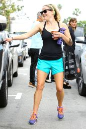 Reese Witherspoon in Shorts - Leaving the Gym in Brentwood - April 2014