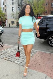 Rihanna Leggy in a Skirt - Out in New York City - April 2014