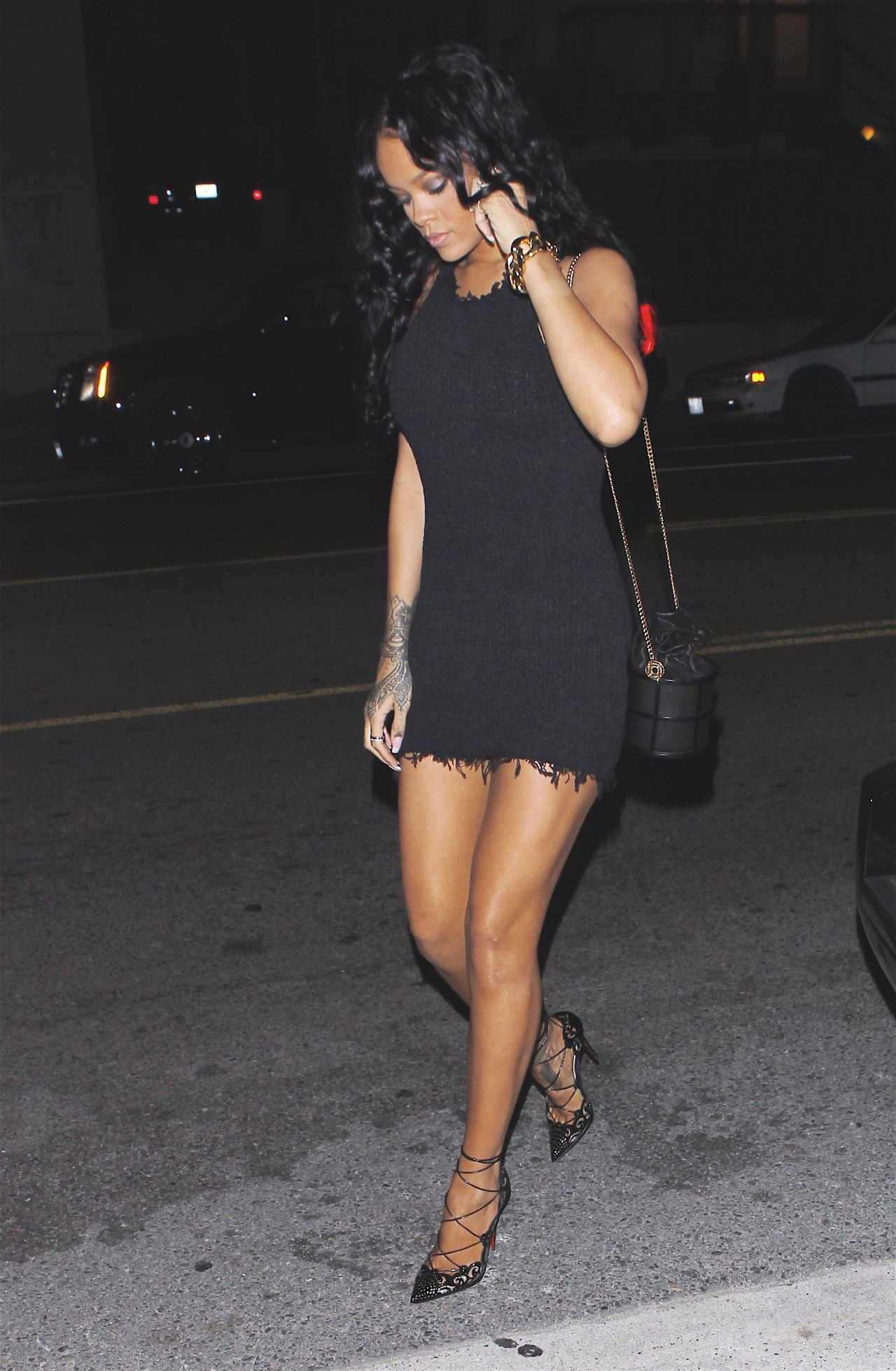 Rihanna - Leggy in Mini Dress, at Giorgio Baldi Restaurant in Santa Monica - April 2014