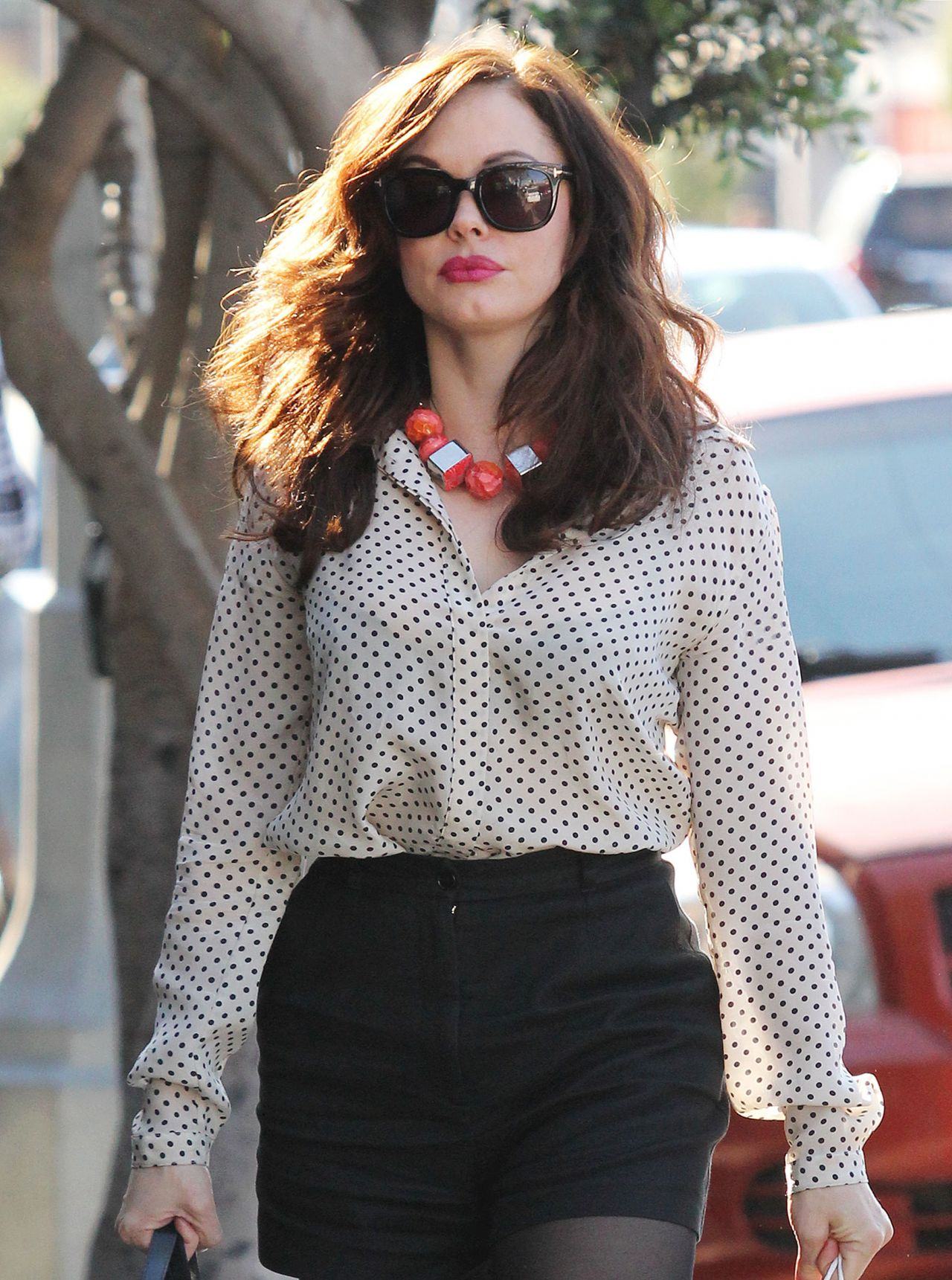 Rose Mcgowan Leggy Wearing Black Shorts Out In West