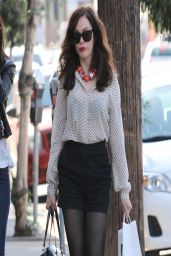Rose McGowan Leggy Wearing Black Shorts - Out in West Hollywood - April 2014