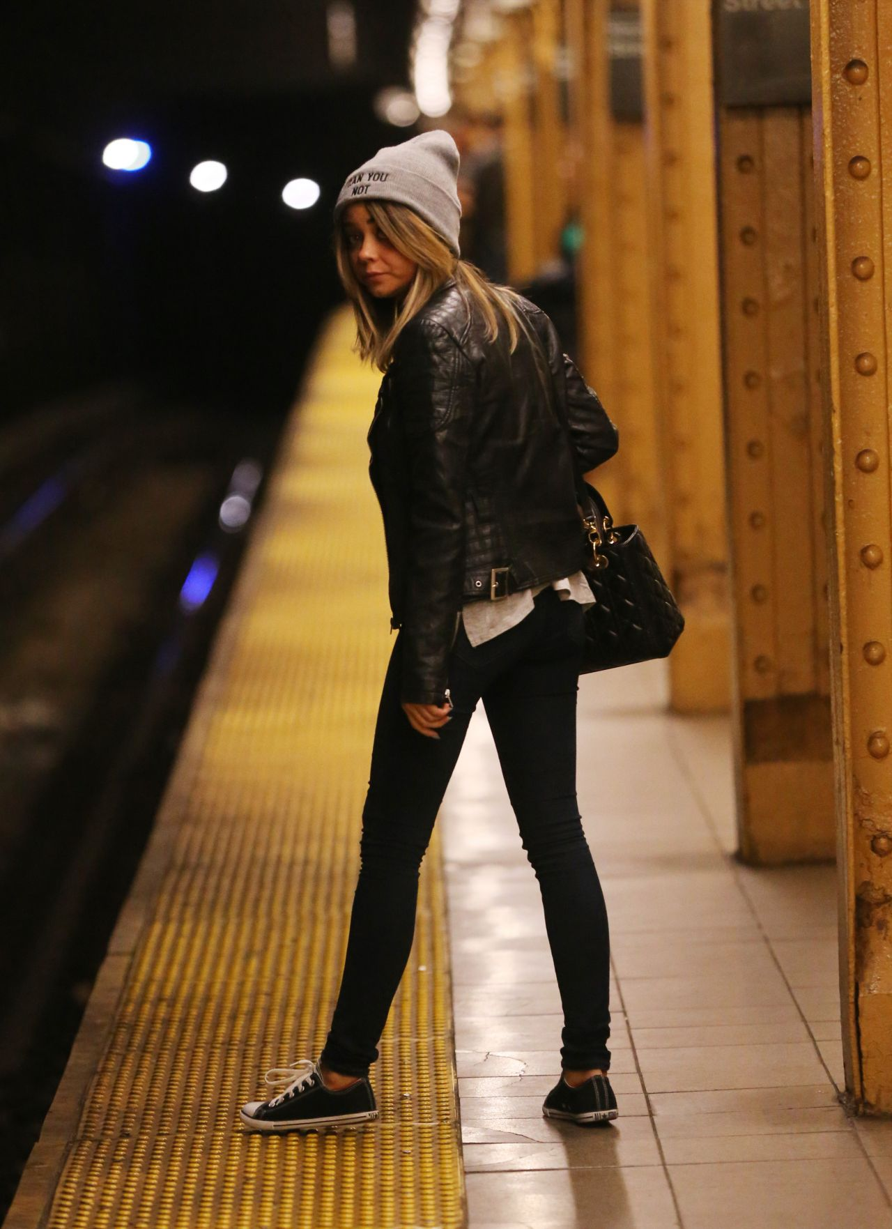 Sarah Hyland Taking the Subway in New York City - April 2014