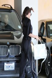 Selena Gomez in a Black Silk Jumpsuit - Out in Los Angeles - April 2014