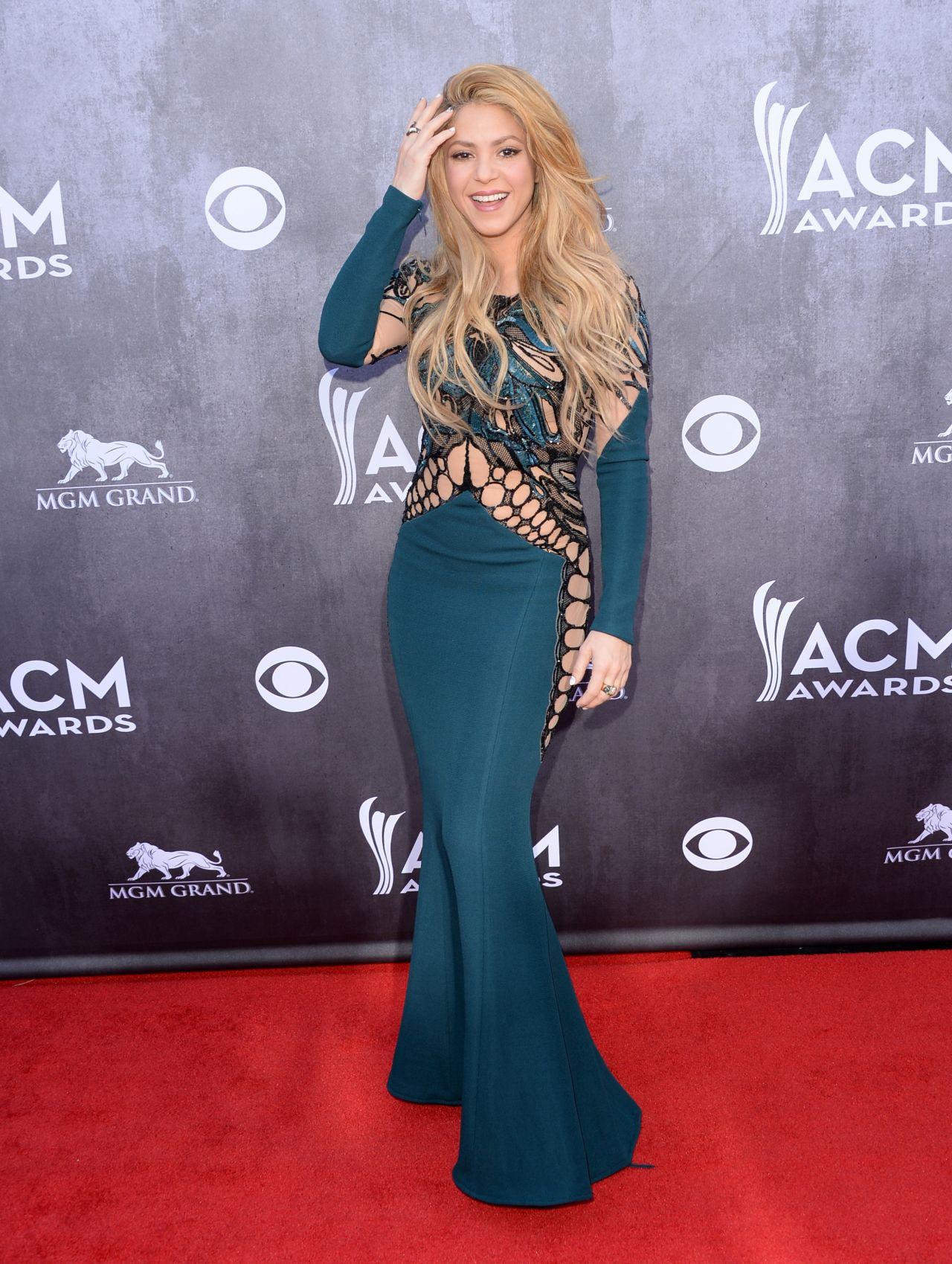 Shakira In Zuhair Murad Dress 2014 Academy Of Country