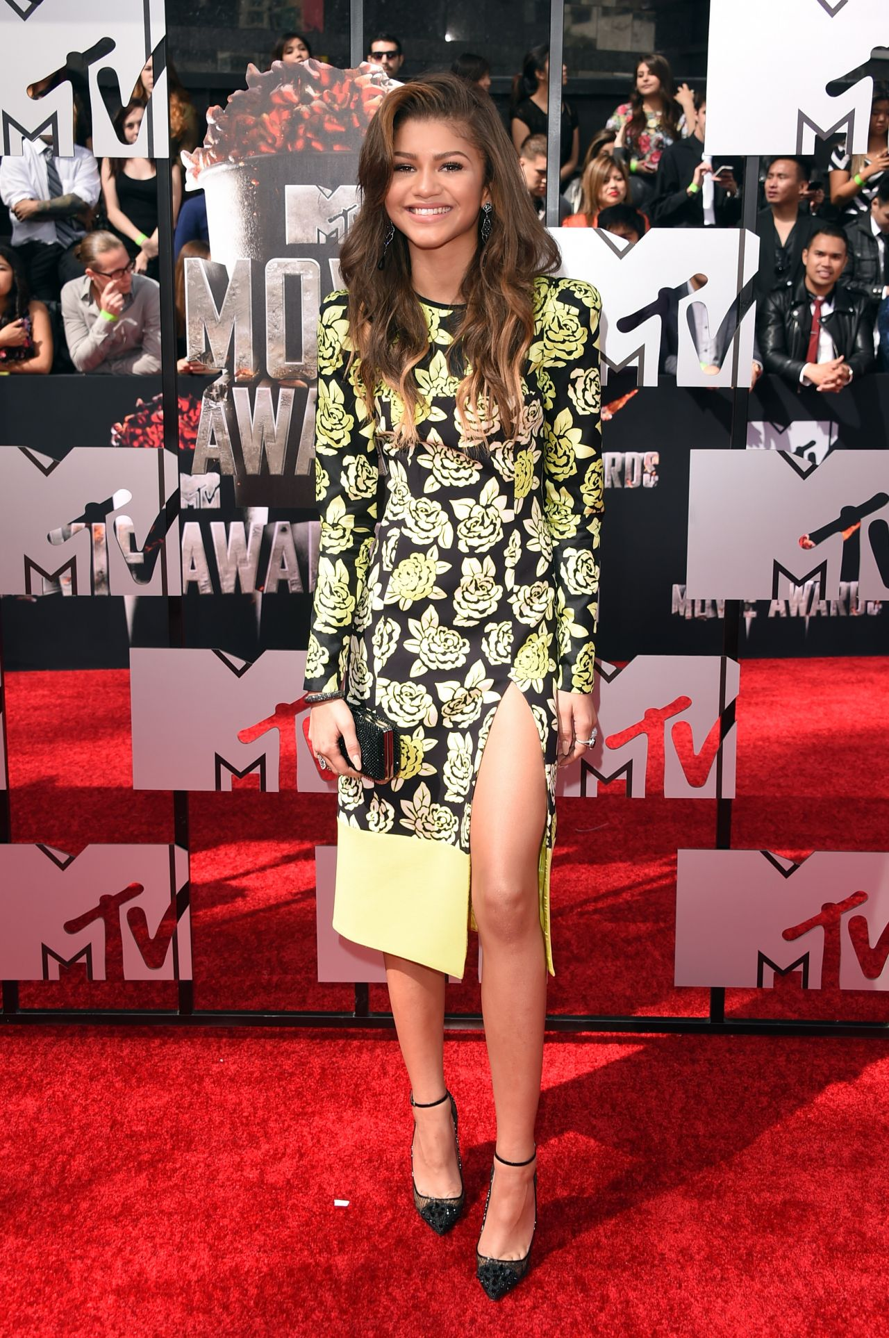 Zendaya Wearing Emanuel Ungaro Yellow And Black Floral