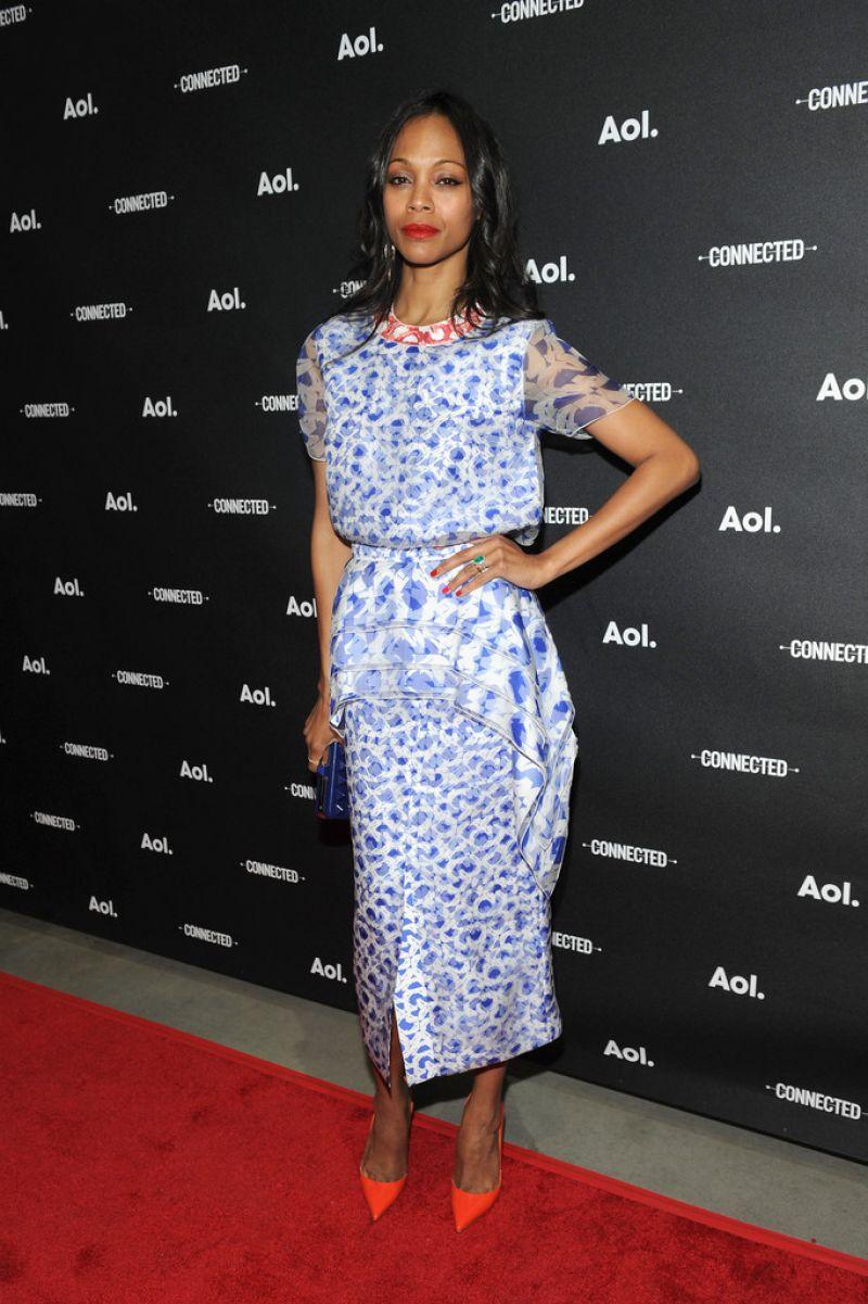 Zoe Saldana Wearing Roksanda Ilincic Dress - 2014 AOL NewFronts in New York City