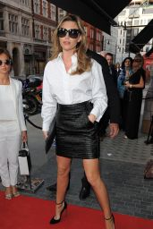 Abbey Clancy in Mini Skirt - Arrives for GINA 60th Anniversary Party - London, May 2014
