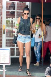 Alessandra Ambrosio in Denim Shorts – Urth Caffe in Beverly Hills - May 2014