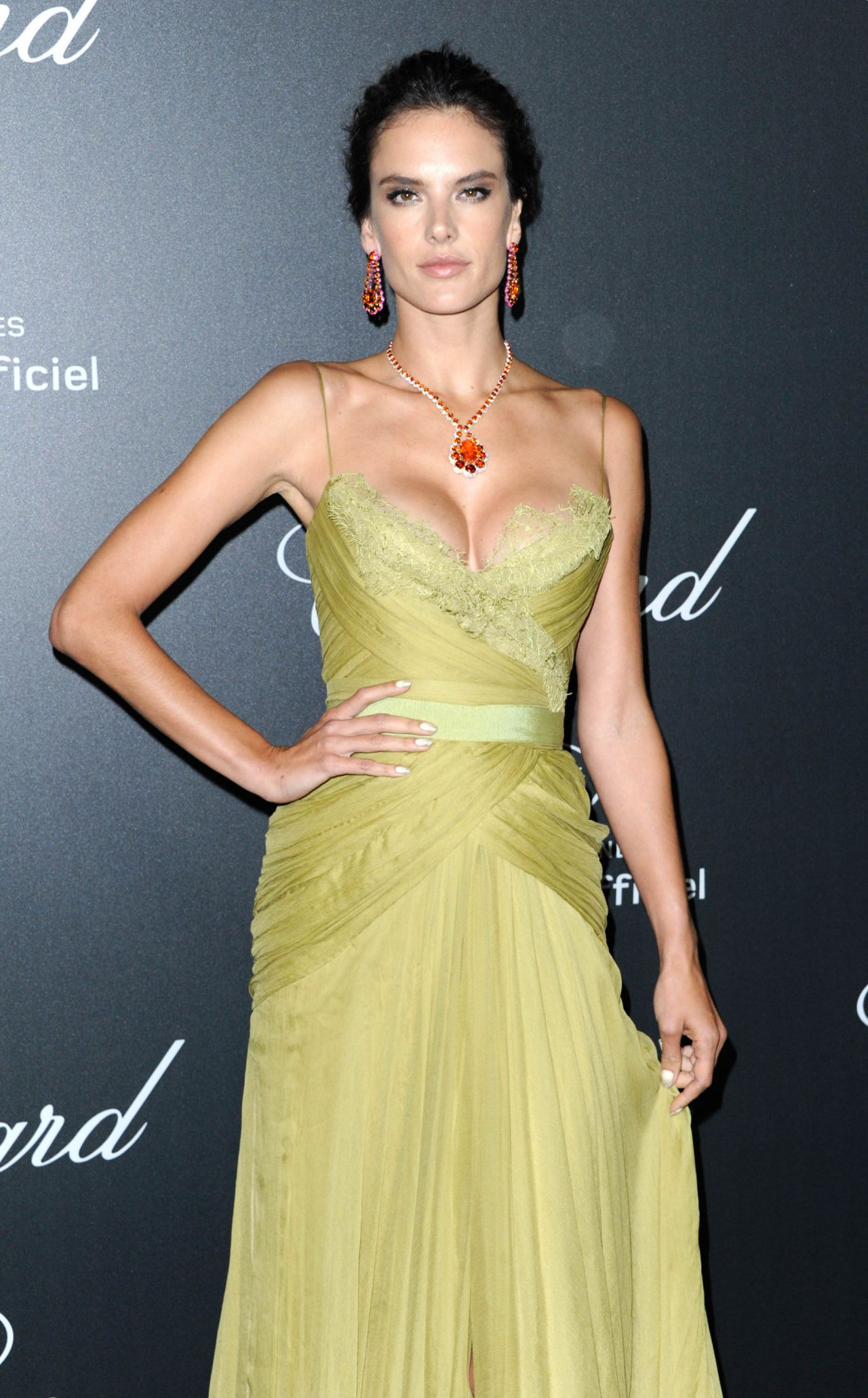 Alessandra Ambrosio in Elie Saab Couture Gown – Chopard Backstage ...