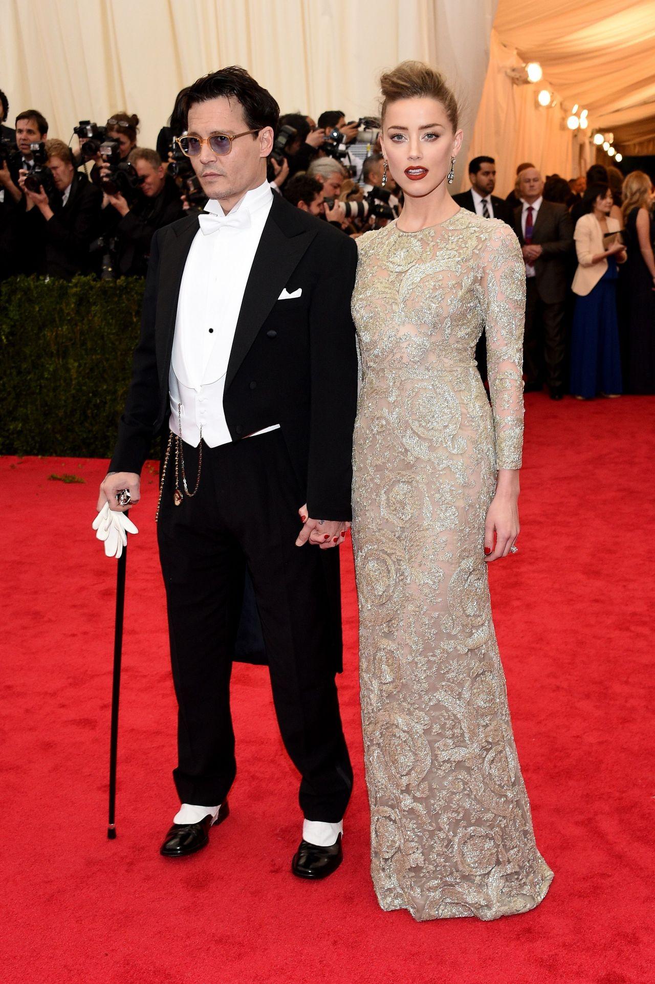 Amber Heard and Johnny Depp     2014 Met Costume Institute GalaJohnny Depp Amber Heard 2014