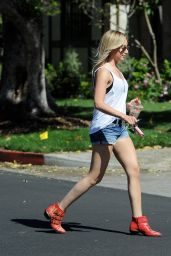 Ashley Tisdale in Denim Shorts - Getting coffee in Los Angeles - May 2014