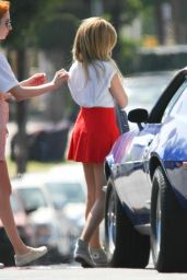 Ashley Tisdale in Red Mini Skirt - Candids from Photoshoot Set - May 2014