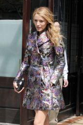 Blake Lively Displays Slender Legs in Valentino Coat Dress - Out in New York City - May 2014
