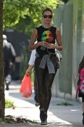 Candice Swanepoel in T-Shirt and Leopard Leggings in Soho, New York City - May 2014