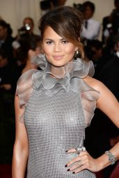 Chrissy Teigen Wearing Ralph Lauren Crystal-Covered Gown – 2014 Met Costume Institute Gala