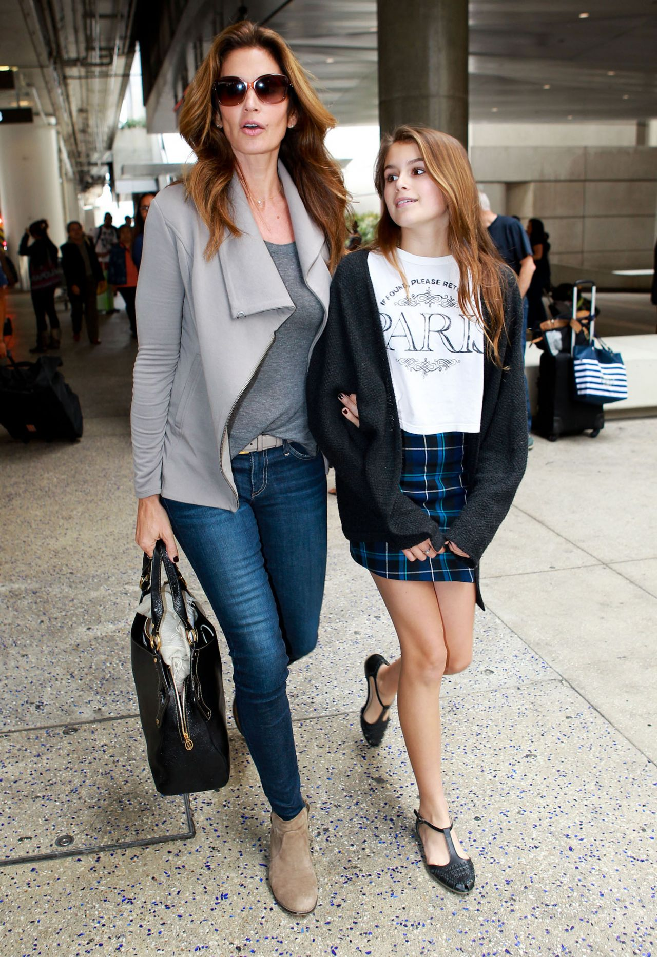 Cindy Crawford and Kaia Jordan Gerber at LAX Airport - May 2014