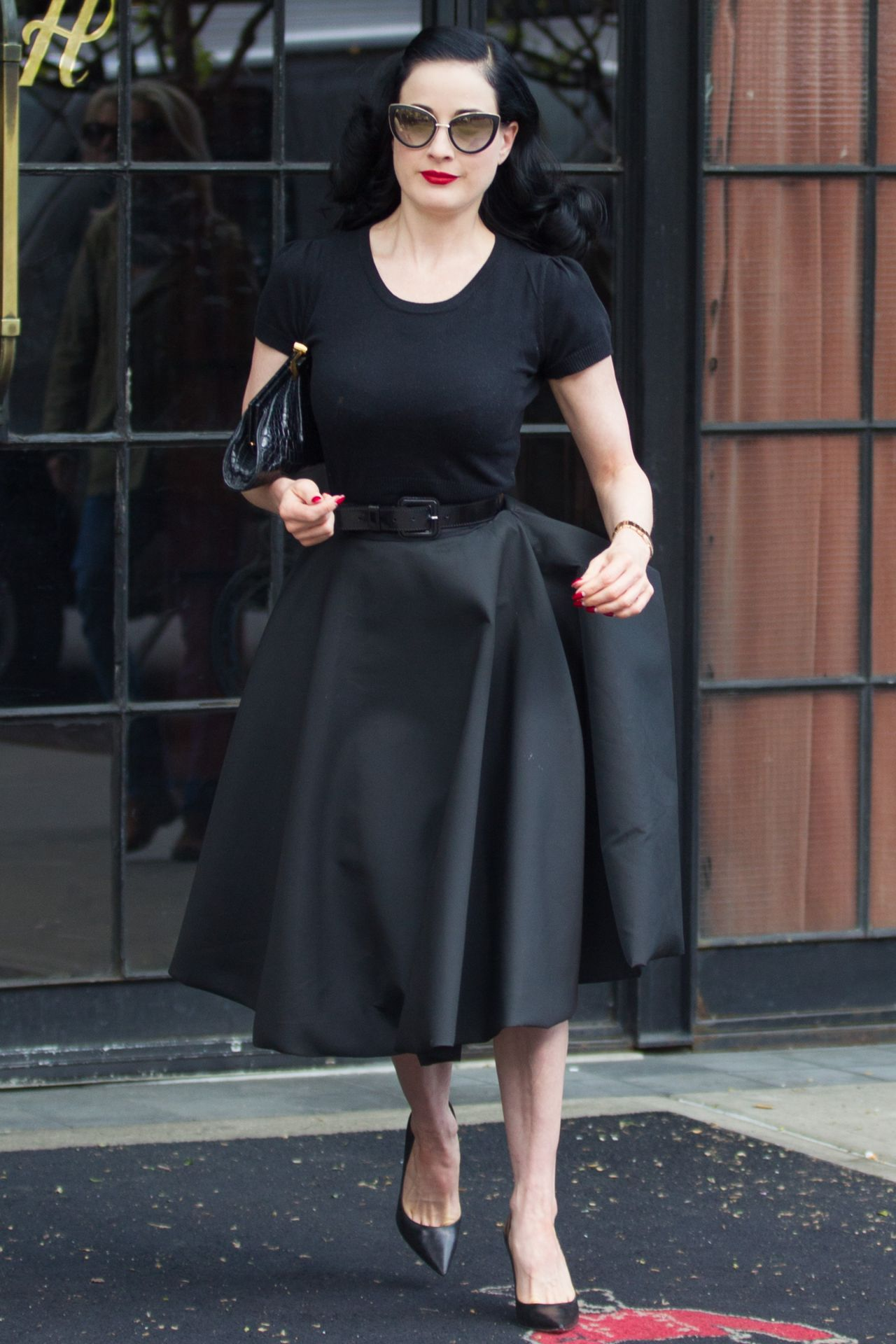Dita Von Teese All in Black - Leaving Her Hotel in New York City - May 2014