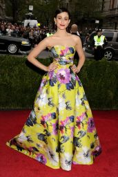 Emmy Rossum Wearing Carolina Herrera Strapless Ball Gown – 2014 Met Costume Institute Gala