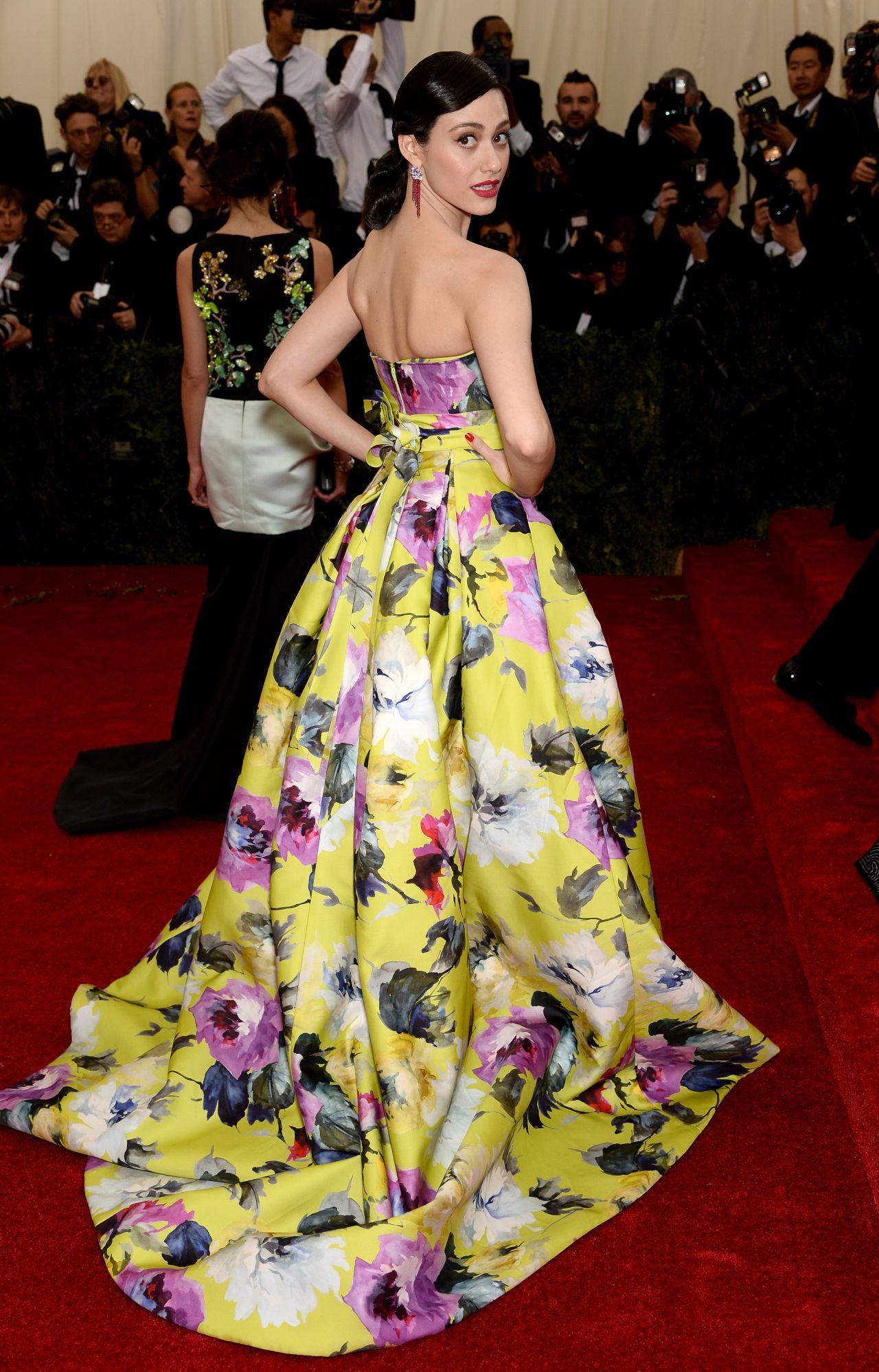 Emmy Rossum Wearing Carolina Herrera Strapless Ball Gown 2014 Met