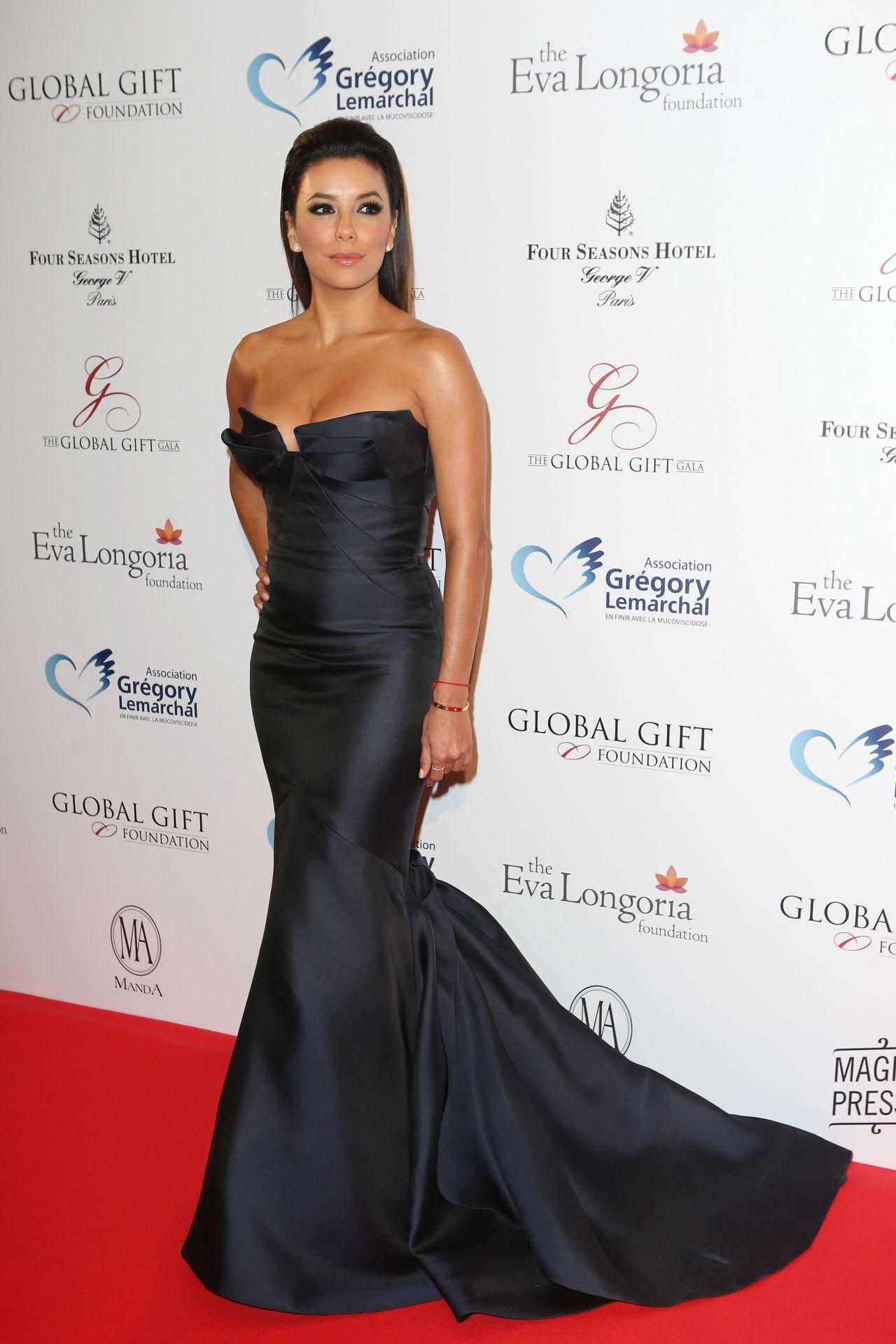 Eva Longoria in Monique Lhuillier Gown in Paris - 2014 Global Gift Gala
