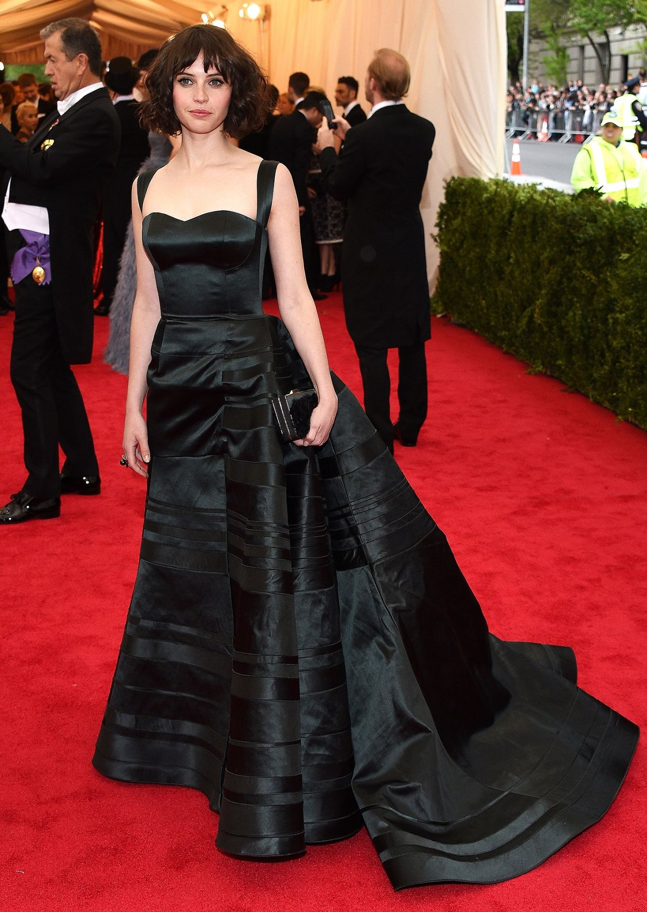 Felicity Jones Wearing Theory by Olivier Theyskens Black Silk Ball Gown – 2014 Met Costume Institute Gala