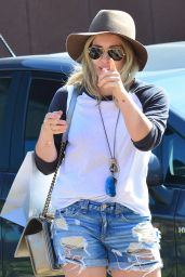 Hilary Duff in Denim Shorts - Shopping in Malibu - May 2014