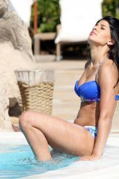 Jasmin Walia in a Blue Bikini - By the Pool in UAE - April 2014