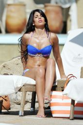 Jasmin Walia in a Blue Bikini - By the Pool in UAE - April 2014
