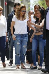 Jennifer Lopez in Ripped Jeans - Out in New York - May 2014