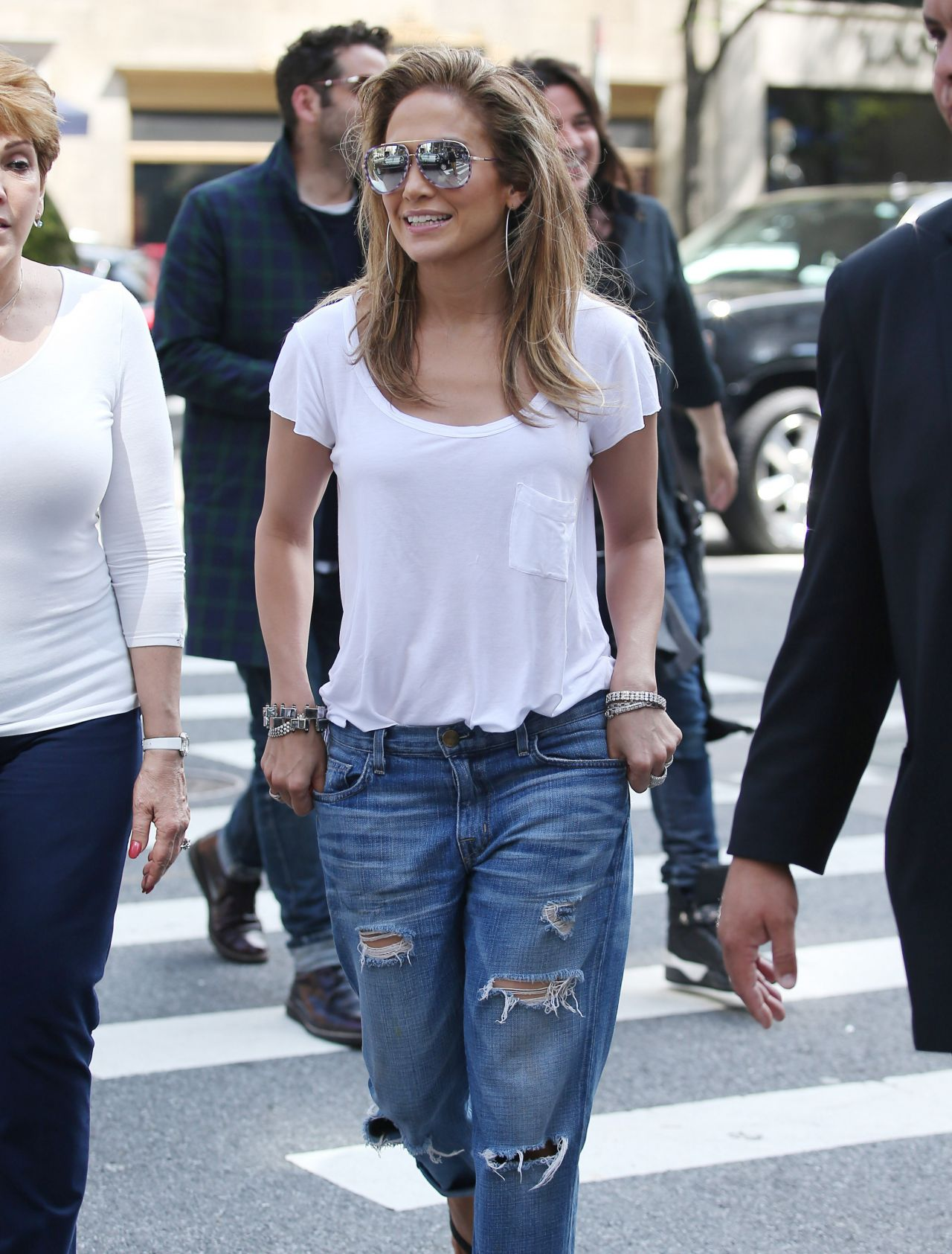 Jennifer Lopez In Ripped Jeans Out In New York May 2014